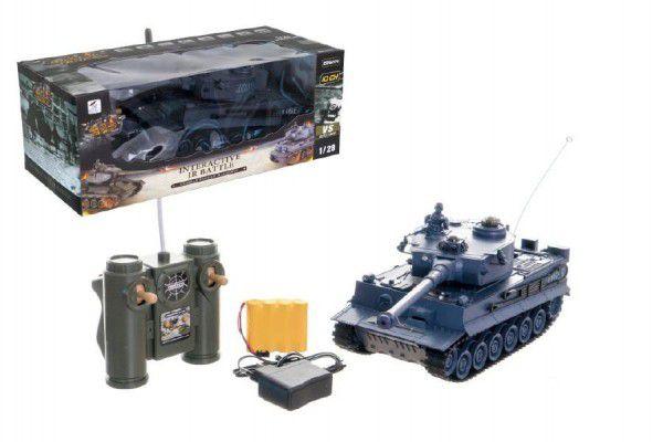 Teddies 58806 Tank RC plast 33cm TIGER I 27MHz na baterie+dobíjecí pack se zvukem a světlem v krabici 40x15x19cm