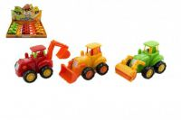 Traktor plast 13cm asst 3 druhy na setrvačník 12ks v boxu