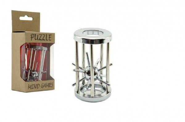 Teddies 59041 Hlavolam ježek v kleci stříbrný kov 4,5x7,5cm v krabičce