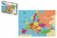 Puzzle mapy Evropa 69 dílků ve tvaru zemí 1:1 v krabici 32x23x7cm