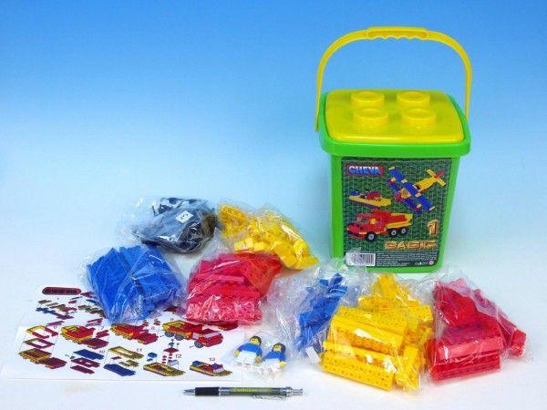 Stavebnice Cheva 1 Basic plast 309ks v kbelíku 20x22x20cm