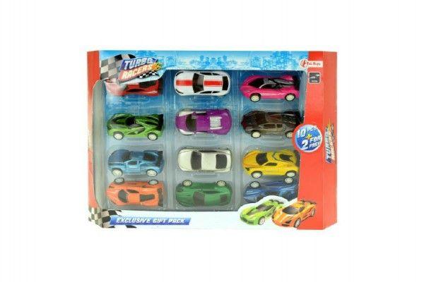 Sada auto 12ks kov 7cm asst mix barev v krabici 33x23x4cm