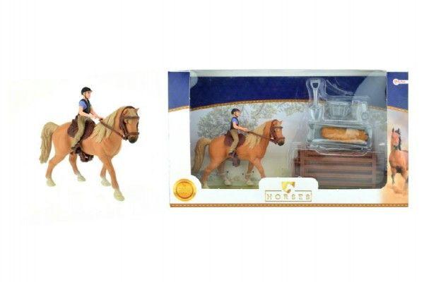 Sada kůň + žokej s doplňky farma plast v krabici 34x19x5cm