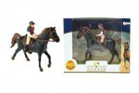 Kůň + žokej plast 13cm v krabici 19x15x5cm