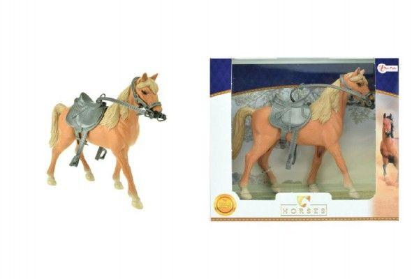Kůň se sedlem plast 20cm v krabici 26x23x7cm