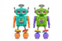 Robot na kolečkách chrastítko plast 20cm asst 2 barvy 6 ks v boxu 24m+