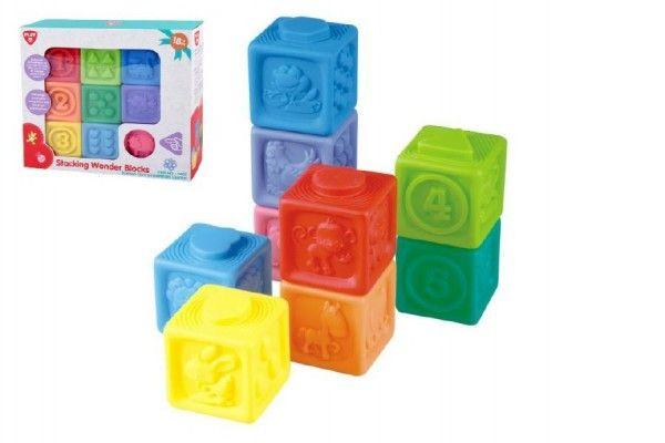 Gumové kostky 9ks 5x5cm v krabici 23x21x6cm 18m+