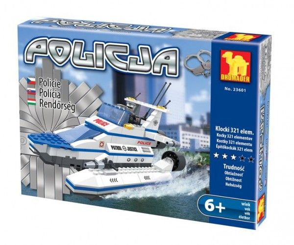 Stavebnice Dromader Policie Člun 23601 321ks v krabici 25x15x5,5cm