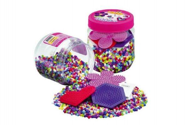Teddies 59786 Zažehlovací korálky 4000ks + podložky s doplňky plast v dóze
