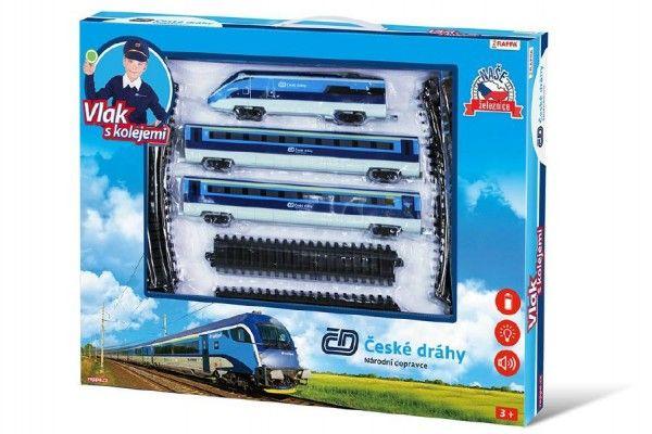 Sada vlak České dráhy s kolejemi 23ks na baterie se zvukem se světlem v krabici 55x43x5cm