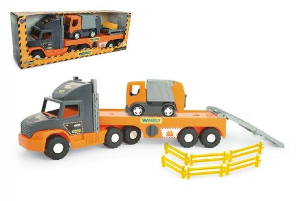 Auto nákladní Super Tech Truck návěs 78cm + auto popelář 24cm plast Wader v krabici 78x28x