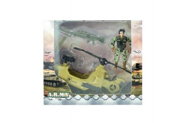 Vojenská sada helikoptéra+voják s doplňky plast v krabici 23x20x7cm