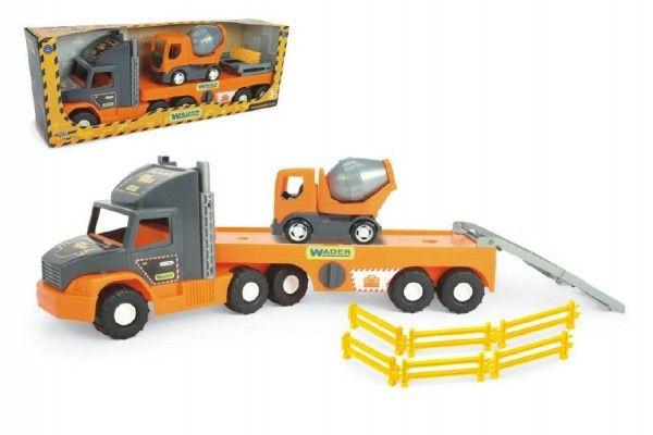 Auto nákladní Super Tech Truck návěs 78cm + auto domíchávač 24cm plast Wader v krabici 78x28x20cm
