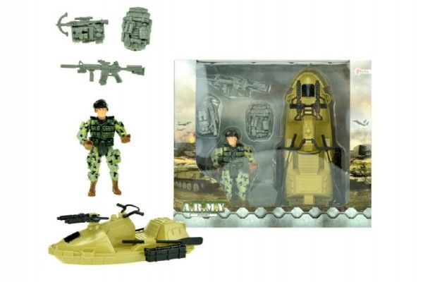 Vojenská sada člun+voják s doplňky plast v krabici 23x20x7cm