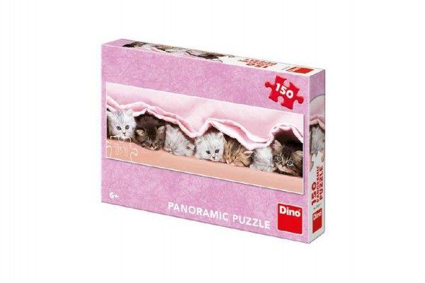 Puzzle koťátka pod dekou panoramic 66x23cm