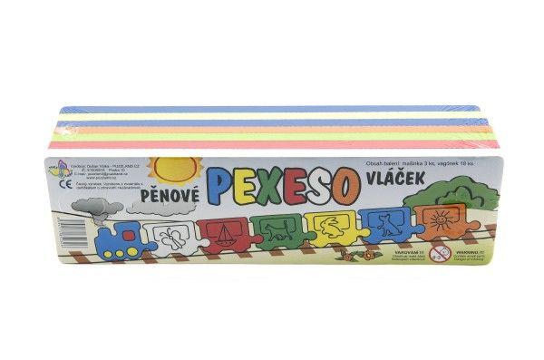 Pěnové pexeso/dílky vláček 21ks 30×7,5×8,5cm