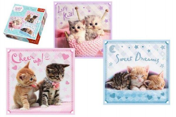 Puzzle Koťata 3v1 20x19,5cm v krabici 28x28cm