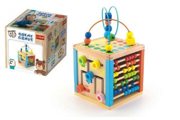 Kostka edukační dřevěná Wooden Toys v krabici 21x21x21cm 2+
