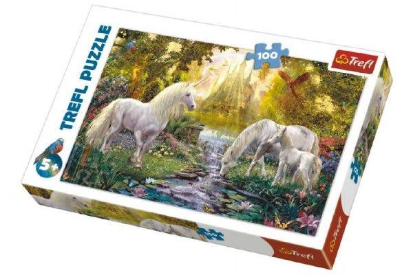 Puzzle Jednorožci v zahradě 100 dílků 41x27,5cm v krabici 29x20x4cm