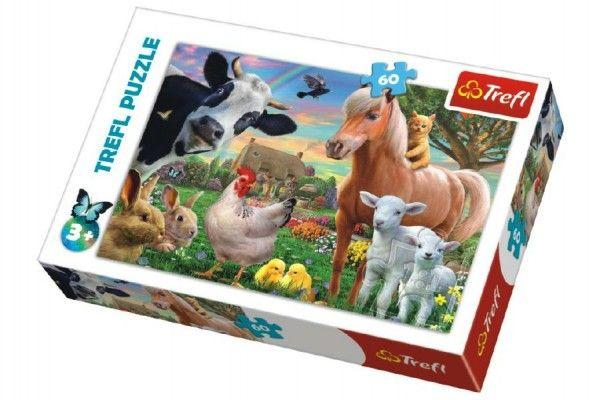 TEDDIES Puzzle Veselá farma zvířátka, 33 x 22 cm, 60 dílků