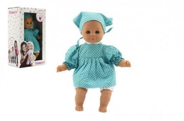 Panenka/Miminko Hamiro 30cm, látkové tělo šaty modré+ bílý puntík + šátek v krabici 20x35x13cm