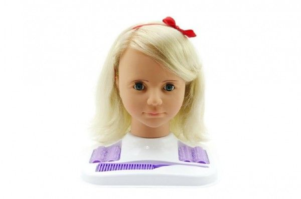 Česací hlava Hamiro velká blond s doplňky v krabici 24x28x19cm