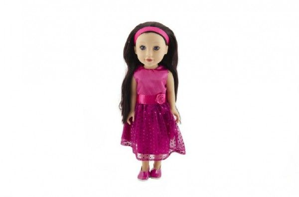 Panenka plast stojící rovné hnědé vlasy, růžové šaty 46cm v krabici 24x49x13cm