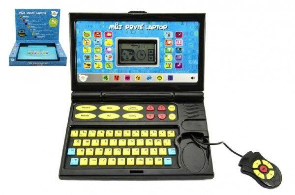 Můj první laptop černomodrý 50 programů na baterie se zvukem v krabici 33x24x7cm