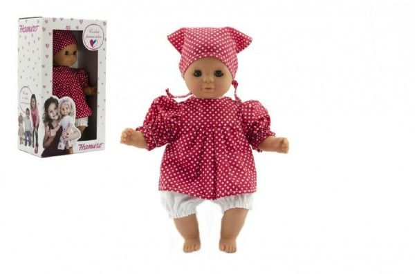 Panenka/Miminko Hamiro 30cm, látkové tělo šaty červené+ bílý puntík + šátek v krabici 20x35x13cm