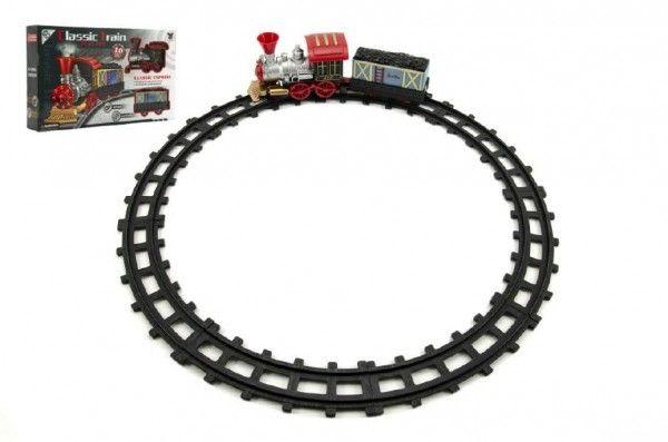 Teddies Vlak/Lokomotiva s vagónkem a dráhou 10 ks plast na baterie