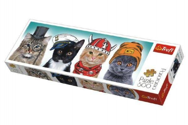Puzzle kočky s čepicemi panorama 500 dílků