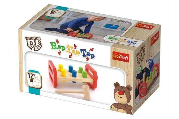 Zatloukačka s kladívkem dřevěná Wooden Toys v krabici 22,5×12,5×10,5cm 12m+