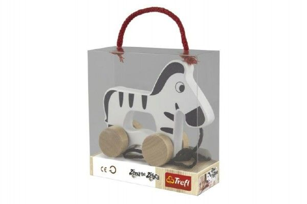 Zebra na kolečkách a s provázkem, dřevěná - Wooden Toys