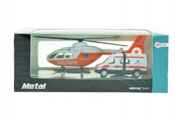 Vrtulník + auto ambulance kov v krabičce 22x9x10cm