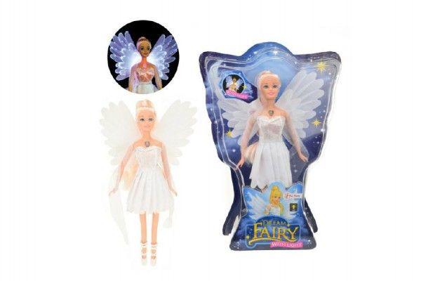 Teddies Panenka víla plast 30 cm bílé šaty na baterie svítící 24x34x6 cm