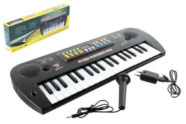 Piánko/Varhany plast s mikrofonem + adaptér 37 kláves 50cm v krabici