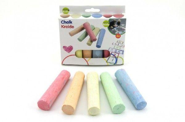 Křídy barevné chodníkové 10,5×2,5×2,2cm 6ks v krabičce