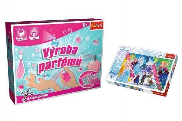 PACK Science for you Výroba parfémů 13 pokusů + Puzzle Frozen 260 dílků v krabici 40x26x13