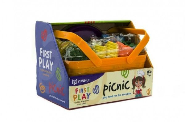 Zelenina a potraviny v košíku piknik plast 14ks v krabici 23x17x15cm