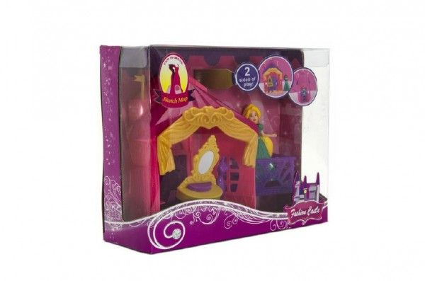 Zámek pro princeznu s doplňky plast asst 3 barvy v krabici 26x20x8cm