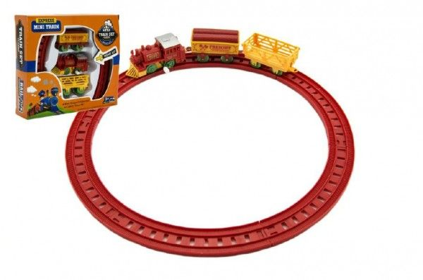 Vlak na klíček + 2 vagónky s kolejemi plast 7cm asst 2 barvy v krabičce 18x16x4cm