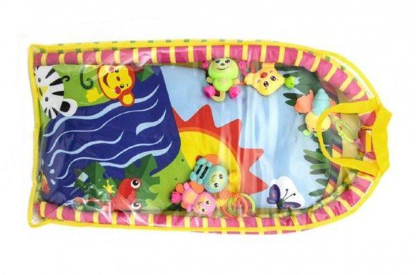 Hrazda pro děti s podložkou a chrastítky v plastové tašce 38x68x6cm