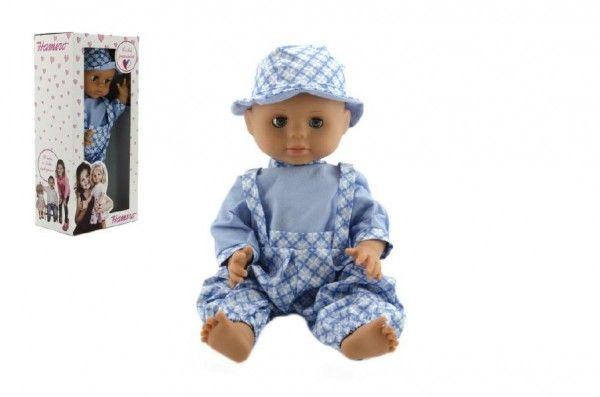 Panenka/Miminko Hamiro 40cm, pevné tělo sv. modré kalhoty + košile+klobouček v krabici 20x