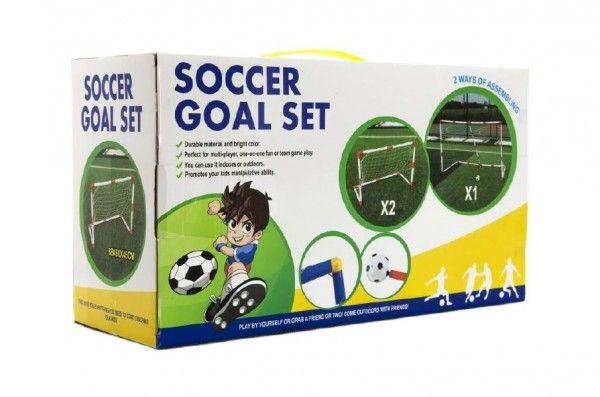 Branka fotbalová 2ks + míč 88x60x45cm plast v krabici 43x24x16cm