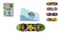 Skateboard prstový šroubovací s rampou plast 10cm asst mix barev na kartě