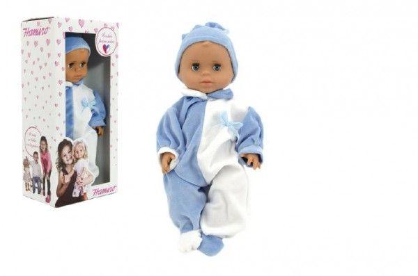 Panenka/Miminko Hamiro 40cm, pevné tělo overal modro bílý+ čepička modrá v krabici 20x43x1