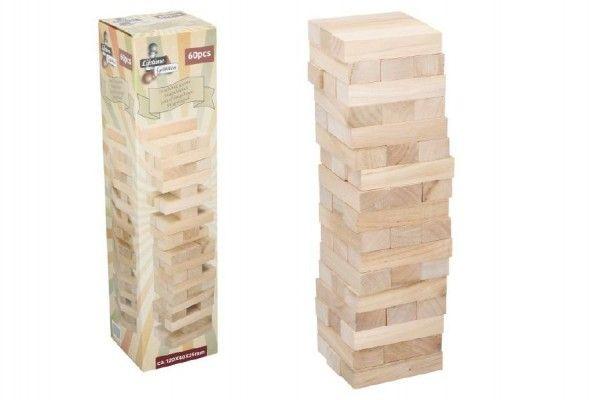 Hra Jenga věž maxi - 60 ks dřevěných dílků
