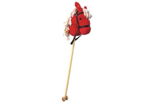 Kůň/Koňská hlava na tyči manšestr/dřevo 100cm na baterie se zvukem v sáčku