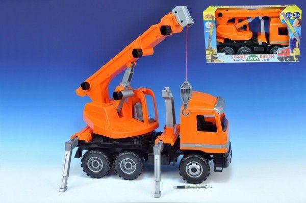 Autojeřáb plast 70cm 3-osý oranžový v krabici