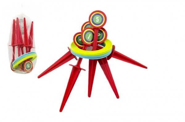 Hra házecí kroužky a kolíky plast 25 cm v síťce